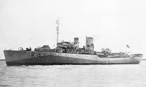 Picture of a Corvette. Flower Class Corvette HMS Polyanthus, Source =www.oldships.org.uk, Author =Leidseplein Date =1943-09-
